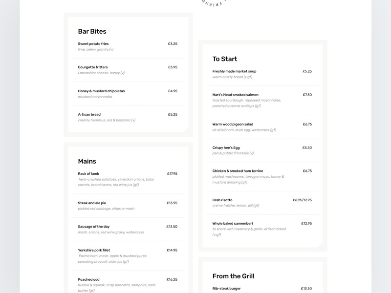 Harts Head - Menu website design typography user experience eat menu food user interface layout design web ux ui