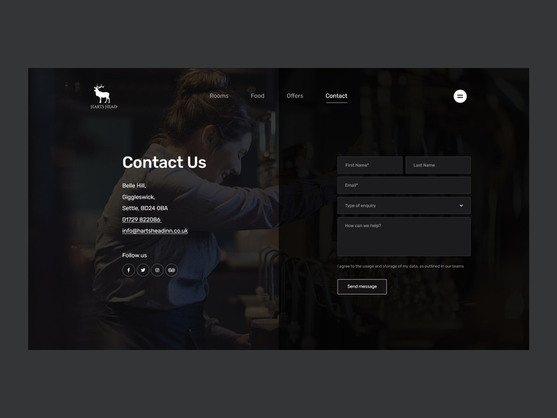 Harts Head - Contact Page form contact social icons user experience typography user interface layout design web ux ui