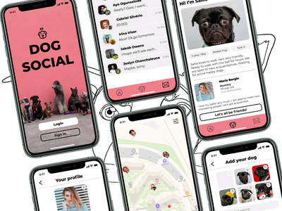 DOG SOCIAL App concept ui walking dating social mobile app app dog design