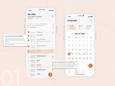 """App for  time-management """"TICK TOCK"""" web design uiux ui time-management time my day calendar design app"""