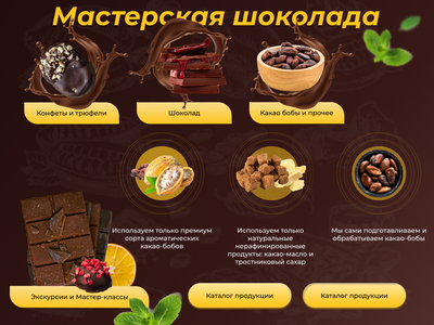 Мастерская шоколада branding ux ui design экскурсии concept desktop мастерская шоколад