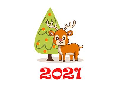 2021 design deer 2d art illustration art new year 2021