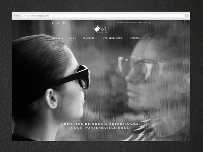 Vu Sunglass black and white art direction web design minimalist sunglass e-commerce