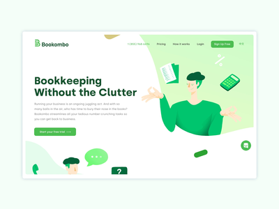 Bookombo Website vector flat animated art direction website webdesign web ux start up sketch home page animation web design ui interface illustration startup design