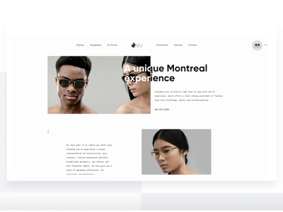 Vu model sunglasses fashion tilt shift parallax art direction animated home page website webdesign web sketch ui ux animation web design interface design