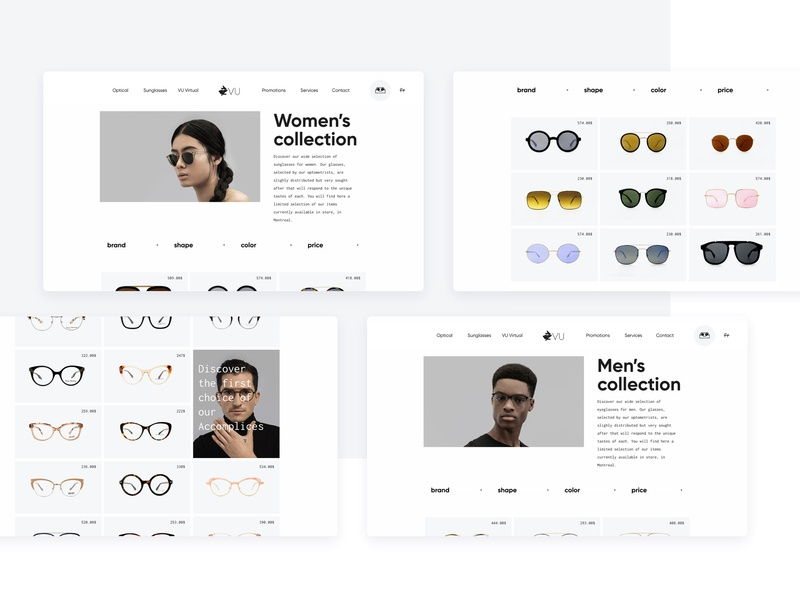 Vu - Catalog glasses sunglasses models model fashion catalog e commerce ecommerce sketch web website webdesign ux ui web design interface design