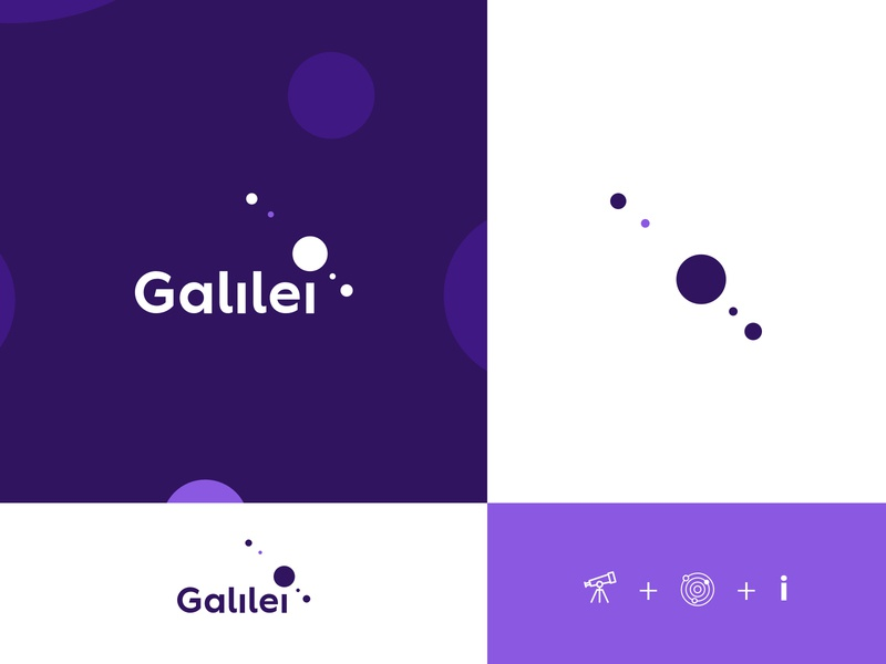 Galilei innovation planet planets purple start up startup logodesign logotype galileo design flat icon typography branding vector logo