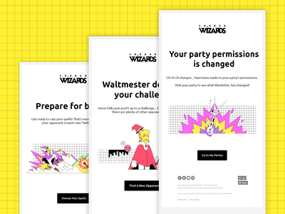 Cheeze Wizards: Transaction Emails emails branding gaming art direction character vancouver design dapper crypto dapperlabs blockchain illustration
