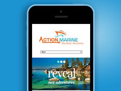 Action Marine Menu mobile web design