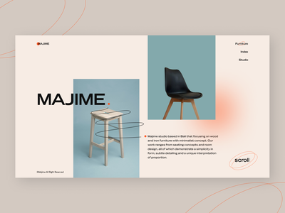 Majime furniture - Landing page ux furniture website furniture design furniture typogaphy photography graphicdesign ui webdesign web uiux uidesign minimal design concept