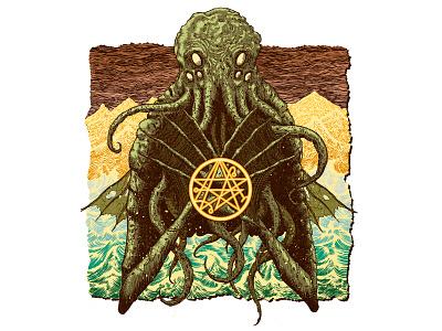 Cthulhu digital illustration digital lovecraft cthulhu monster cover comic poster design poster art literature book sci-fi graphic design drawing poster horror art horror design illustration