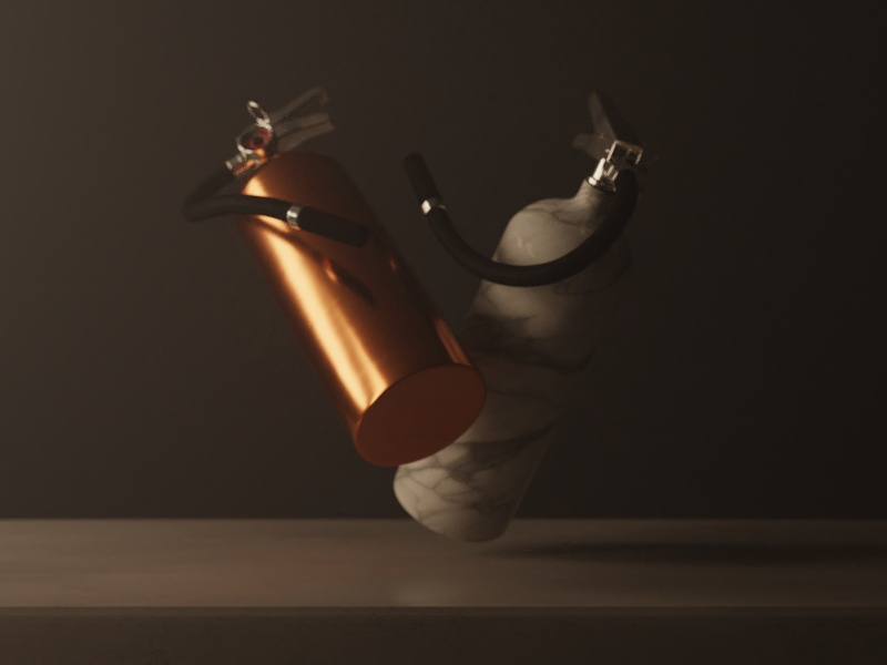 Still Life Extinguishers bronze still life fire extinguisher 3d marble cycles blender