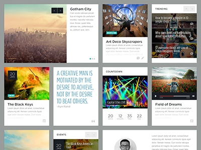 Blocks grid layout photograpy blog magazine video audio sidebar blocks events typography portfolio