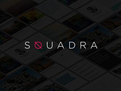 Squadra branding logo identity clean minimal squadra grid blocks q typography gotham square