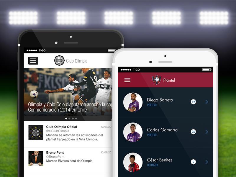 Apps Club Cerro Porteño & Club Olimpia mobile grass soccer app sports team players profiles football field lights ball