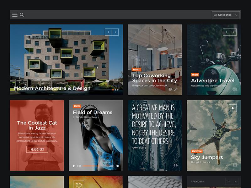 Content Blocks  portfolio gallery player audio video events content photography blocks grid magazine blog