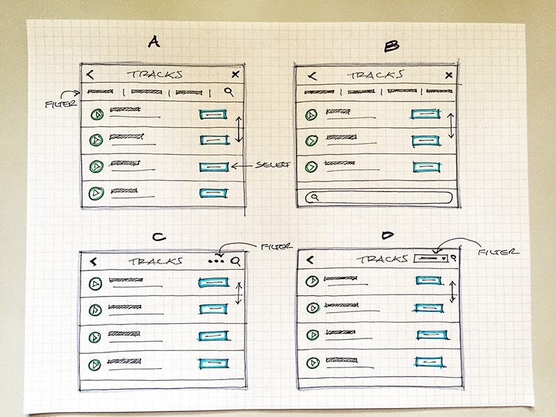 Track modal paper pen ux ui filter audio list track sketch