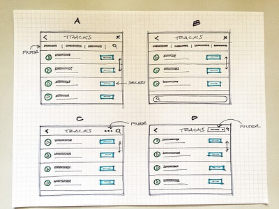 Track modal paper pen ux ui filter audio list track sketch