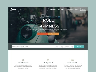 Roll in Happiness responsive e-commerce payment booking search web marketing landing homepage parking app