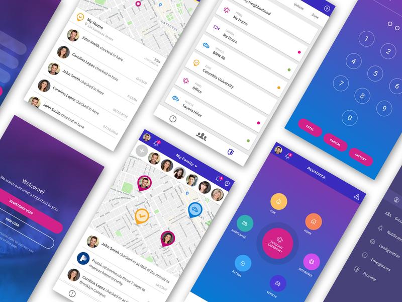 ISY Mobile App Screens mobile design iconography menu login map gps security ui ux design app mobile