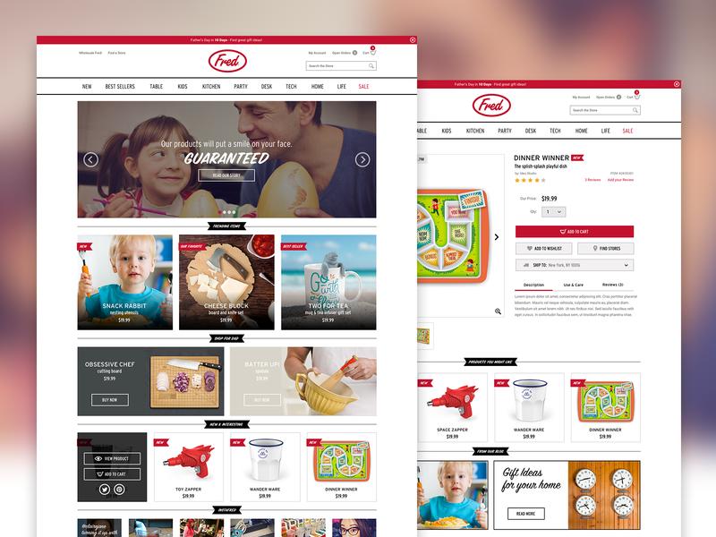 Fred & Friends website web design magento ui design ux design mobile product page storefront design responsive ecommerce