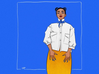 Nargis digital painting character design minimal blue and orange contrast blue graphicdesign graphic art graphic fashion illustration fashion digital illustration digital art illustration art