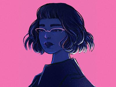 Pink and Blue characters design pink blue original art minimal graphic art illustration female character digital illustration digital painting digital art illustration art