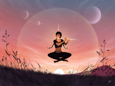 Meditation original art illustration illustration art digital illustration female character graphic art character art concept art digital painting digital art