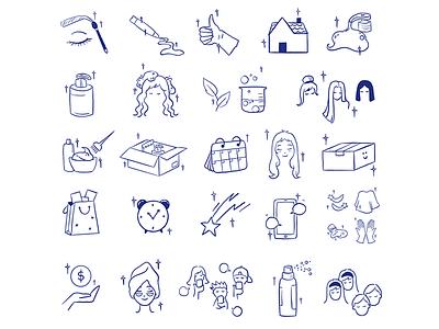 Hally Hair - Custom Icons icons set iconset emoji custom custom icon custom illustration creative branding illustration icons