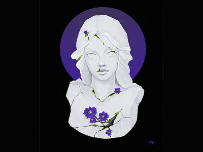 Spring minimal illustration digital painting illustration art digital arts flowers concept art purple black and purple minimalism circle statue original art graphic illustration graphic art digital illustration digital art