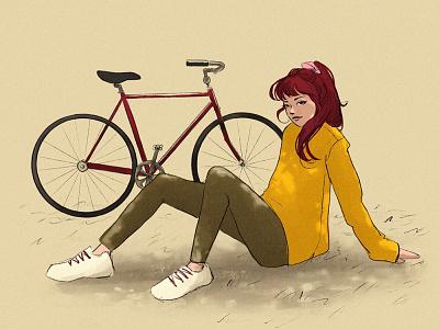 Ride beautiful bicycle digital illustration character design characterdesign minimal illustration digital painting digital art design illustration art female character
