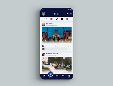 News Screen Social App