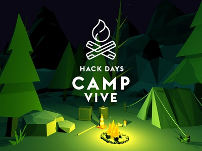 Camp Vive hack days unity store unity poly low poly campfire branding illustration vector virtual reality vr vive