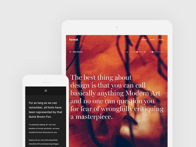 Killing the Quick Brown Fox - Responsive clean design desktop mobile tablet showcase font image typography type