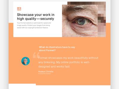 Format + Professions Pages secure photograph portfolio design web tiles landing page testimonial