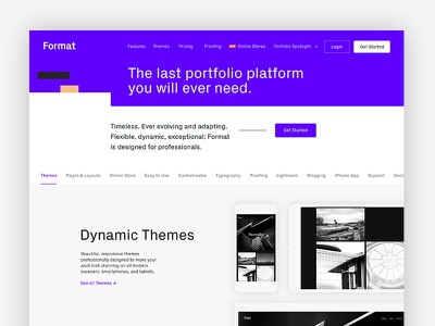 Format Features Page clean simple design header page site portfolio format