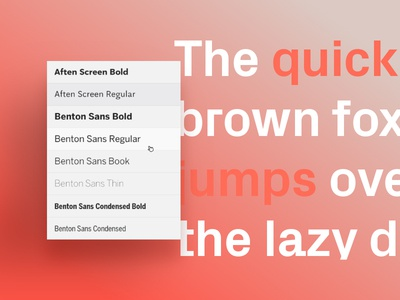Format Features Page – Typography gradient simple interface select font typography text