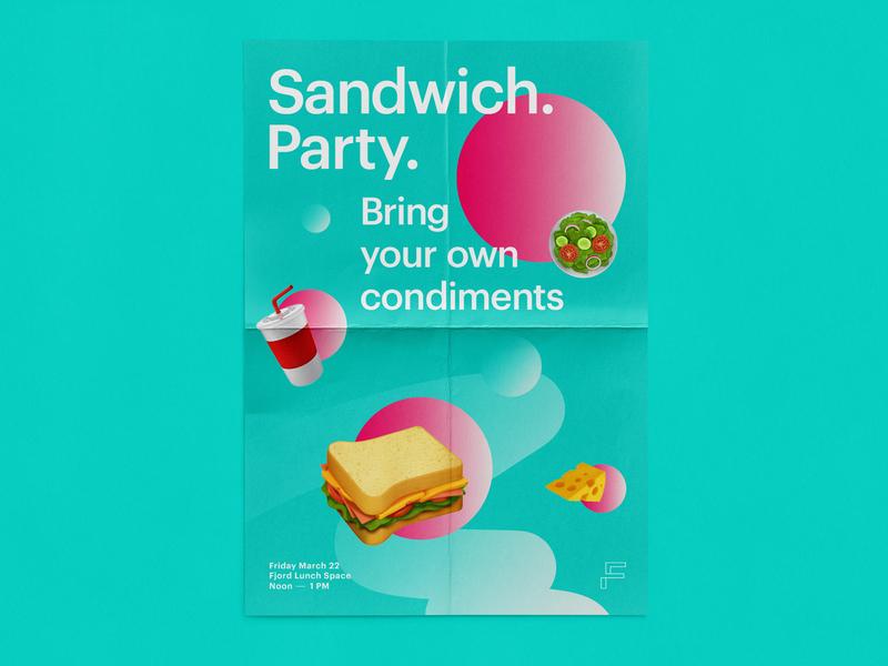 Sandwich Party gradient emoji food culture toronto design print poster