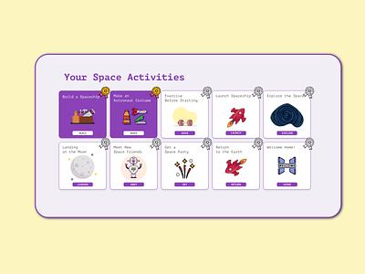 Thematic activities for children yellow violet rocket space box modal ui ux illustration app design website design