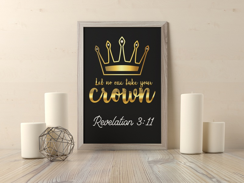 Let no one take your Crown Revelation 3 :11 Golden crown minimal design logo illustration gold colored typography