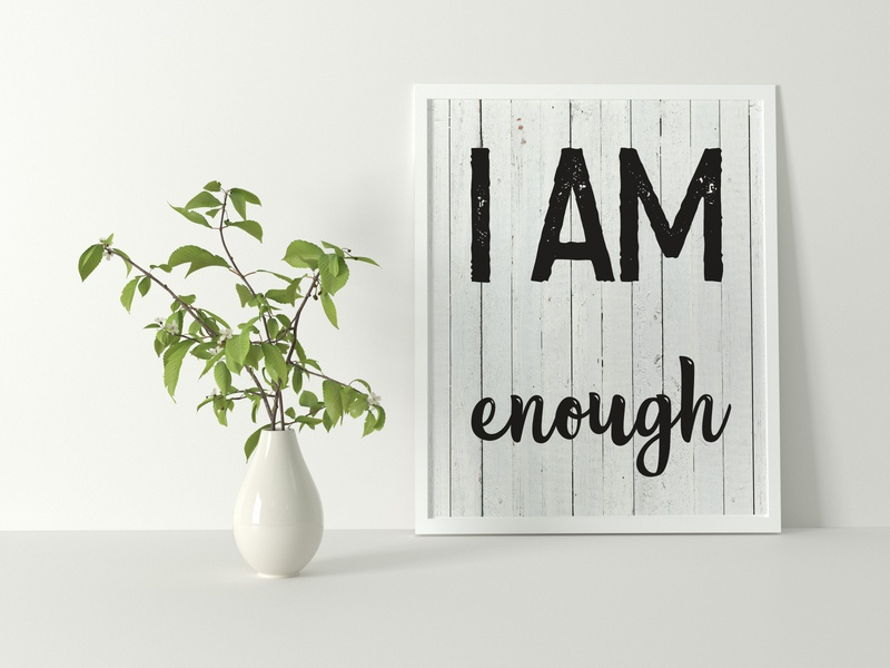 I am enough i am quote design monogram illustration