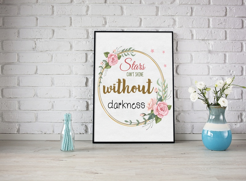 Stars Can't Shine without  Darkness decor success message positive vibes quotes