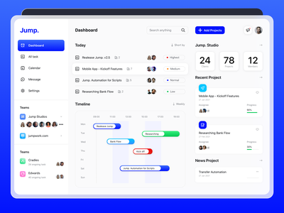 Jump. Studio Dashboard teamwork dashboard design clients dashboard app timeline task process management ux app web design website dashboad ui