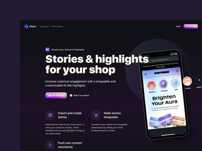 Website | Our Products Pages e-commerce theme instagram stories pack highlights instagram stories mobile shopping e-commerce app startup stories website builder mobile e-commerce landing website design website ui design