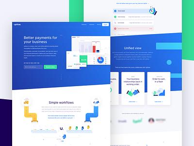 Upflow — Website startup branding dunning cashflow upflow receivable invoicing finance illustration ui landing website