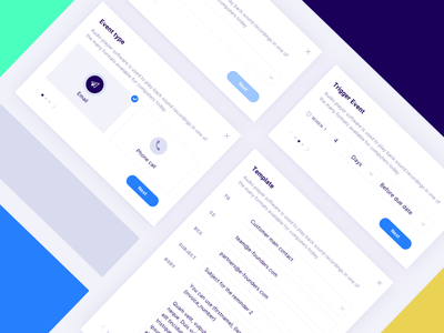 Schedule new dunning action modal. startup branding dunning cashflow upflow receivable invoicing finance illustration ui landing website