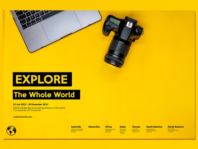 Clean Poster Travelling world yellow clean camera photo poster design photoshop indonesia graphic design