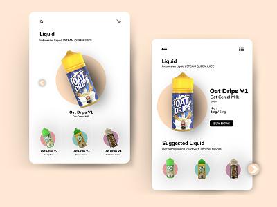 Clean Design UI Mobile Liquid VapeStore pod vape soft design clean design soft fresh clean liquid ui mobile ui mobile app design photoshop ui design indonesia graphic design