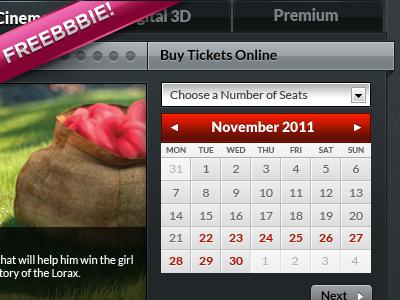 Tickets Calendar .psd (Freebbbie!) freebie free psd psd ui