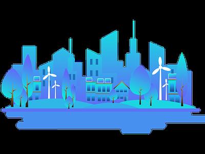 City scape website illustrator vector ui illustration flat design